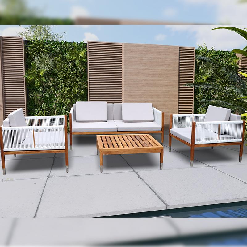 outdoor rope teak wood patio sofa set wholesale