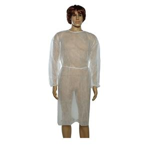 Polypropylene Medical Isolation Gown Visitor Cloak White Isolation Gown With Elastic Cuffs