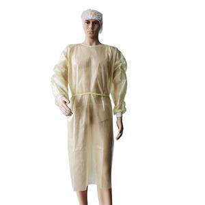 PE voll laminiertes Einweg-Isolationskleid Besucherkleider wasserdichtes gelbes Kleid
