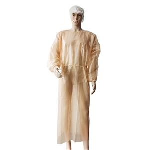 Food processing waterproof PE coated disposable gown price disposable hospital gowns non woven isolation gown
