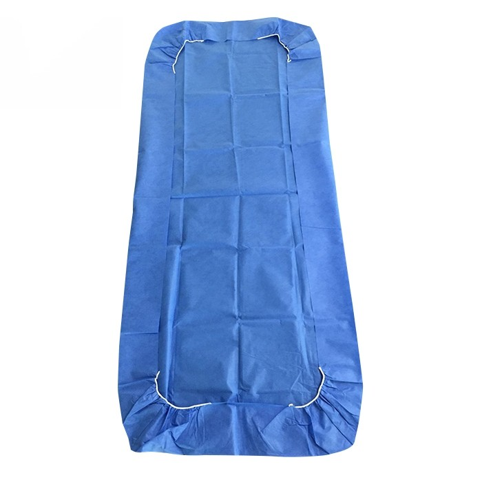 Hygienische SMS Adjustabed Sheet Elasticated Fitted Stretcher Sheets Blue Hospital Fitted Bed Sheets