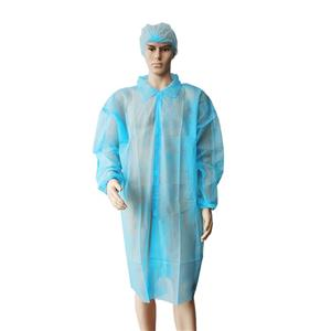 Low Cost Industry Gown Without Pockets Bata Visit PP Polypropylene Visit Coverall With Velcro Closure