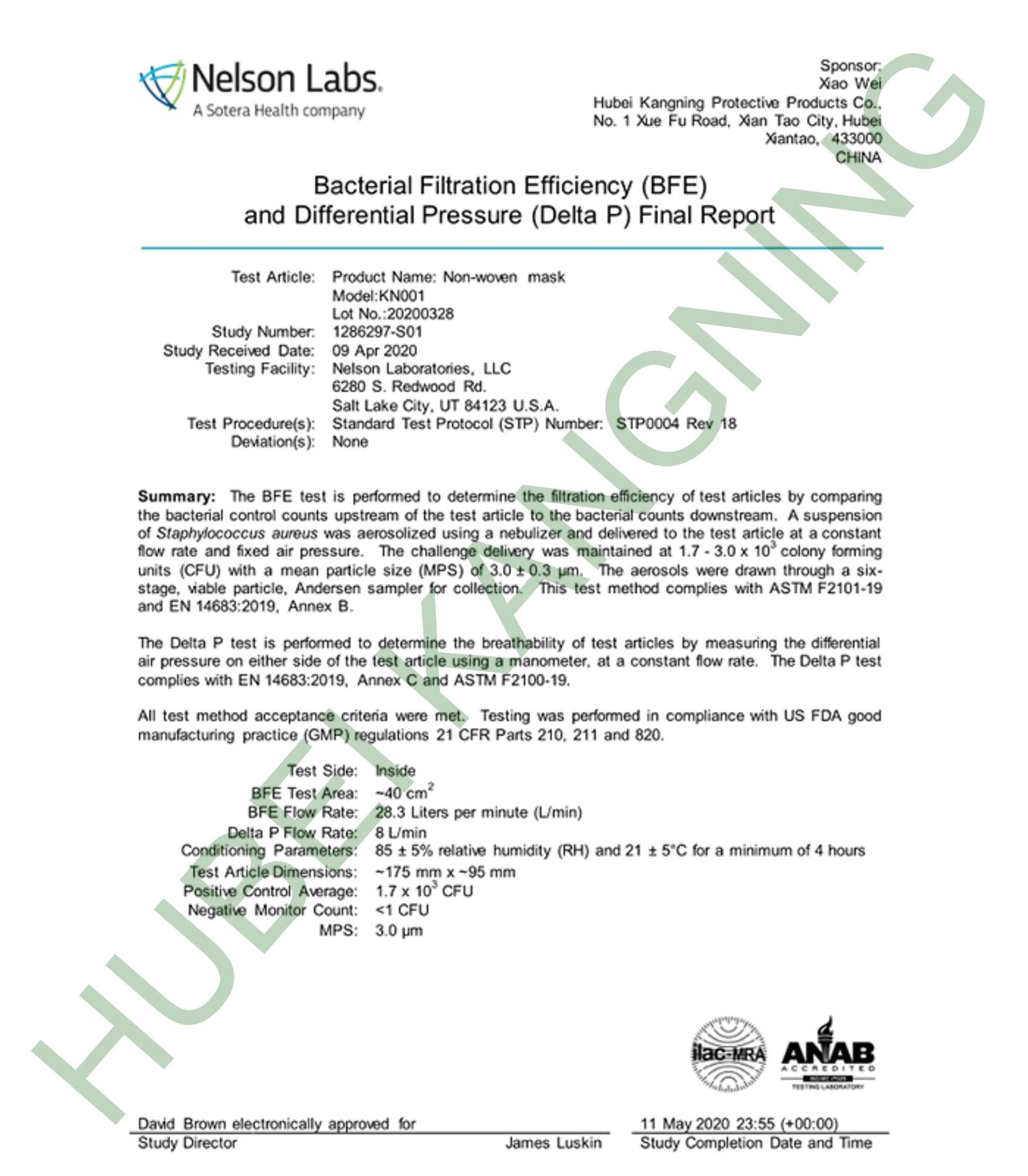 EN14683 report for TYPE IIR mask