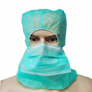 Single Use Non-woven Surgical Hood Balaclava Hood Mask Pirate Cap With Mask