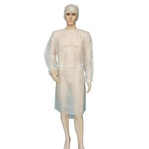 Medizinisches Isolationskleid aus Polypropylen Besuchermantel Weißes Isolationskleid mit elastischen Manschetten