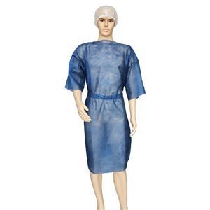 China Hersteller weiches Polypropylen Isolationskleid Kurzarm Patienten Kleid atmungsaktives Kleid