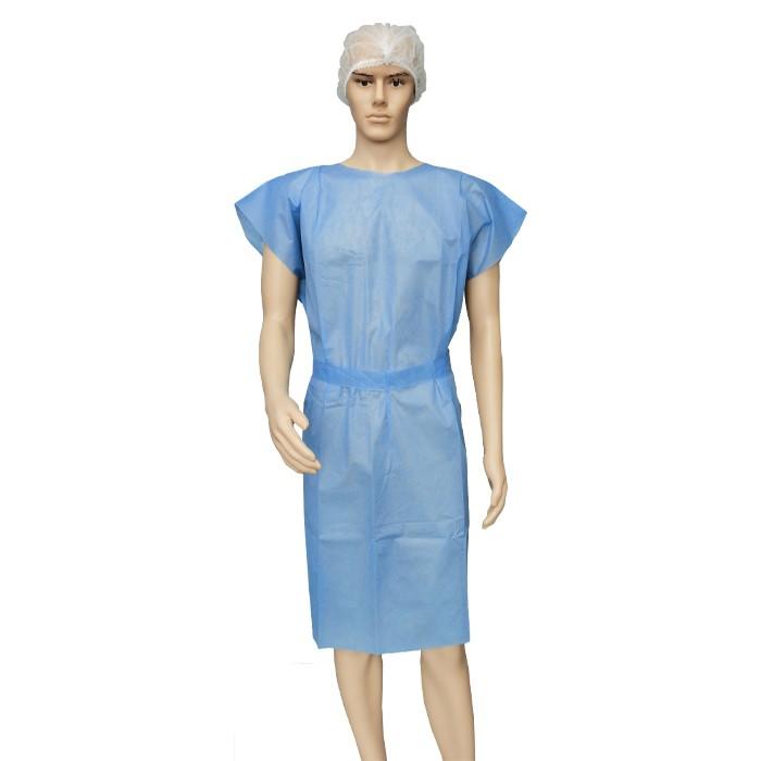 Einwegvlies Blue Sms Sleevless Hospital Gown für Erwachsene Lange Ponchos für medizinische Untersuchungen