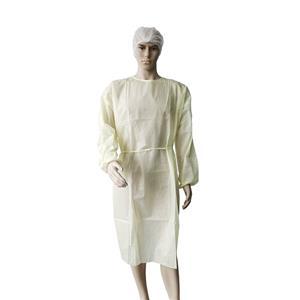 Xiantao Professional Maker SMS OP-Kleid Einweg-Isolationskleid Gelbes Isolationskleid
