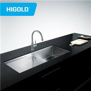 Long SUS304 Handmade Single bowl kitchen sink With Drain board