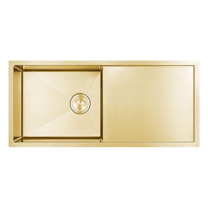 PVD Gold Nano Undermount SUS304 roestvrijstalen handgemaakte gootsteen