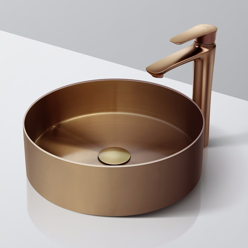SUS304 PVD Rose Gold Round Stainless Steel Basin