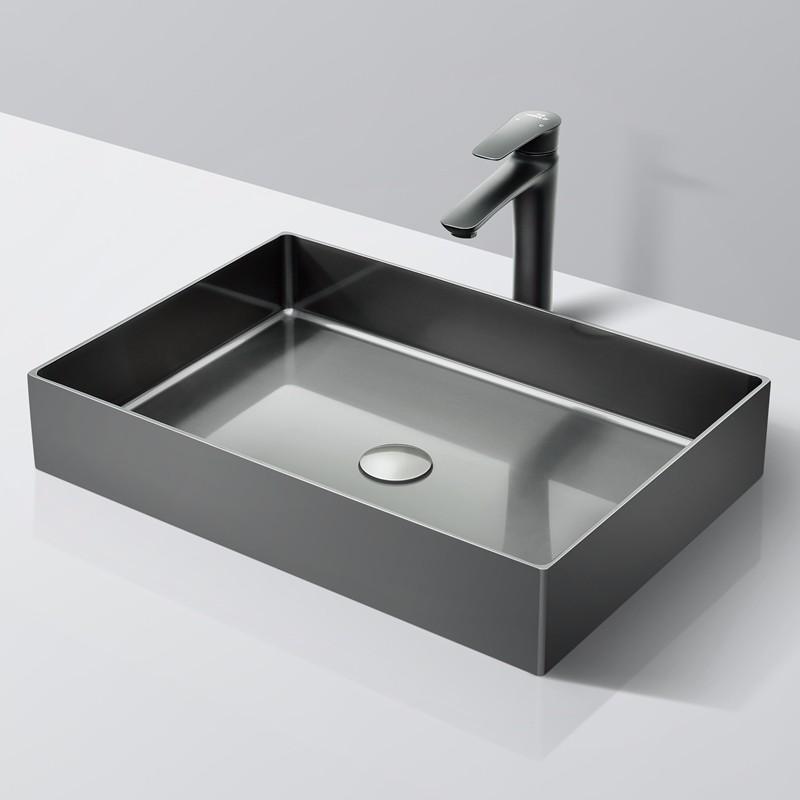 PVD Black and Nano Handmade Square Bathroom Sink