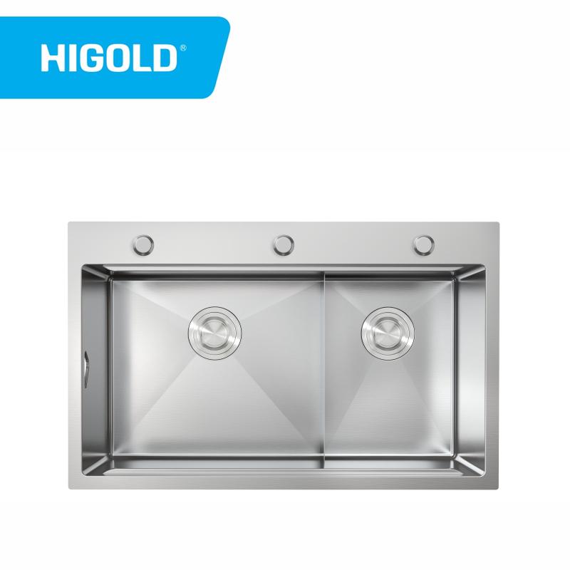 Handgefertigte Küchenspüle Edelstahl Doppelbecken Spüle Topmount Spüle