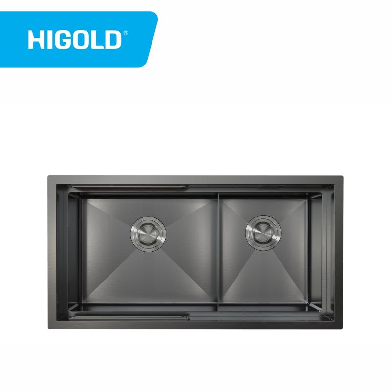 Handgefertigte Küchenspüle Edelstahl Doppelbecken Spüle mit Stufenunterbau
