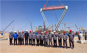 Guodian Shuangwei Power Plant's new steel structure cooling tower project successfully completed the first hoisting