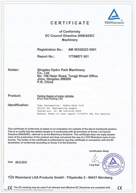 CE Certification For Parking System Of Motor Vehicles