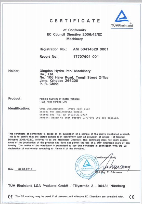 CE Certification For Two Post Parking System Of Motor Vehicles