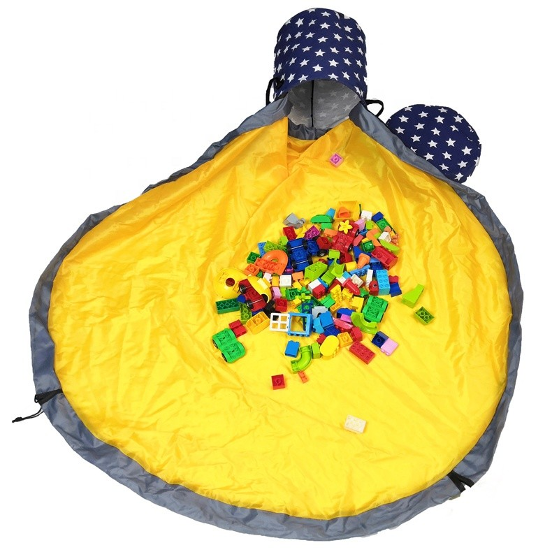 Kids Toy Storage Basket Play Mat Toy Storage Bag With Large Drawstring Portable Container Storage Bin