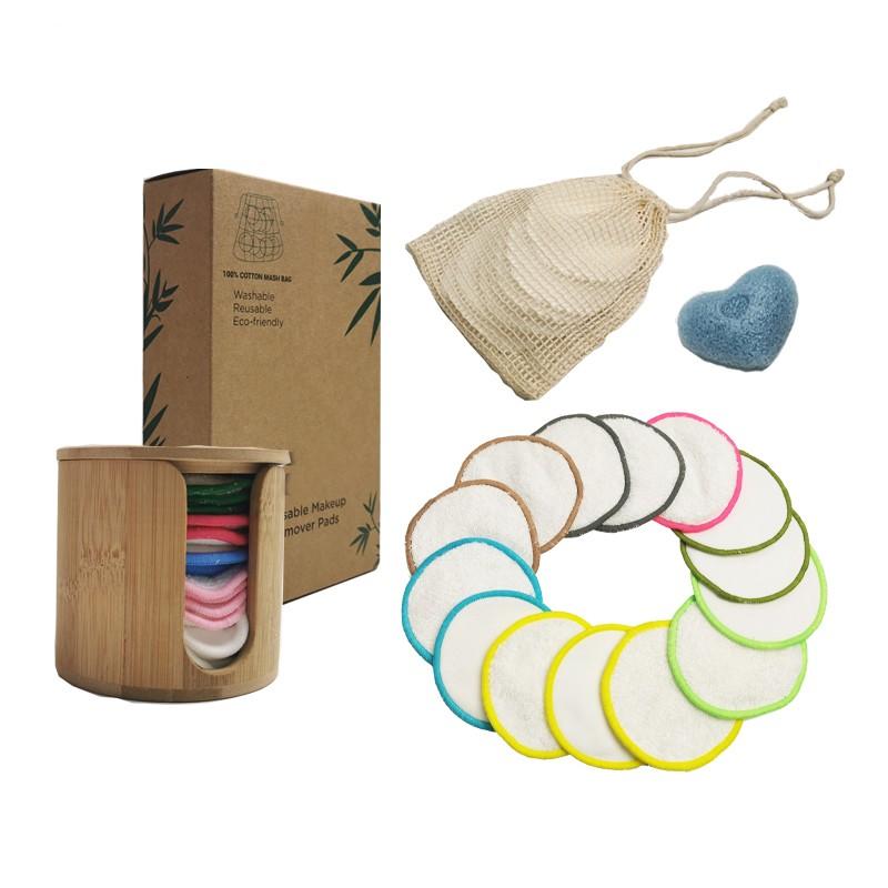 Almohadillas desmaquillantes reutilizables para limpieza facial de bambú