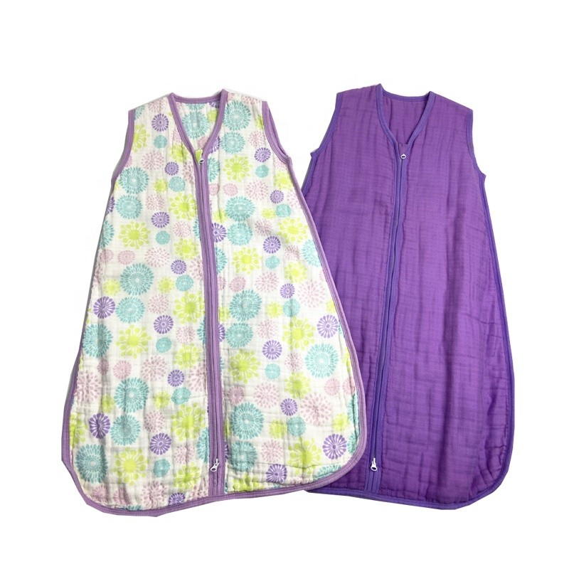 Wholesale Soft Breathable 2 Layers 4 Layers Cotton Muslin Baby Summer Sleeping Bag Sack For Babies
