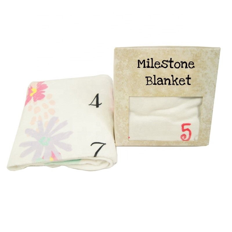 BSCI SEDEX Custom Soft Printed Milestone Baby Blanket Plush