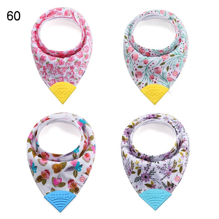100% Organic Cotton Teething Bibs with Attached BPA-Free Silicone Teether Toy Corner