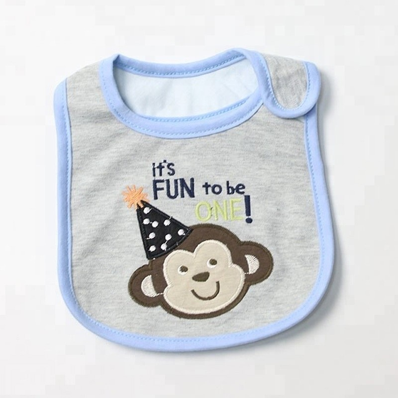 Prime Quality Colorful Embroidery Baby Cotton Bibs