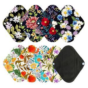 1pc Mini Wet Bag 6pcs 8 Inch Bamboo Charcoal Cloth Menstrual Pads Reusable Sanitary Pads