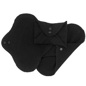 Black Panty Liner Reusable Organic Cotton Menstrual Pads with Wings