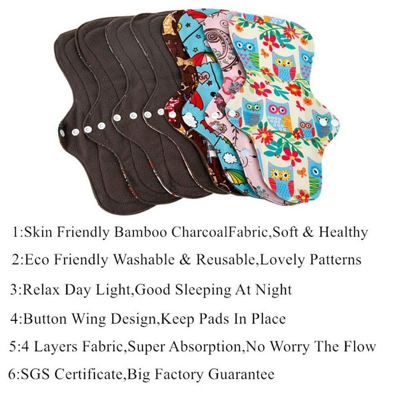 Reusable Waterproof Bamboo Charcoal Menstrual Pads Sets Manufacturers, Reusable Waterproof Bamboo Charcoal Menstrual Pads Sets Factory, Supply Reusable Waterproof Bamboo Charcoal Menstrual Pads Sets