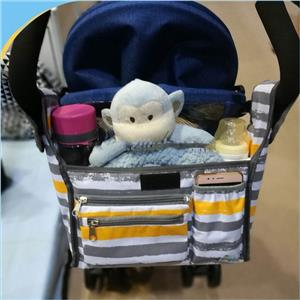 Bolso negro multifuncional del organizador del cochecito, bolso del cochecito de bebé