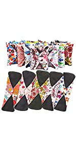 4 PCs Cloth Sanitary Pads Reusable X Large Cloth Menstrual Pads for Heavy Flow Night Use + Wet Bag