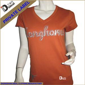 Women V-neck Cotton T-shirt