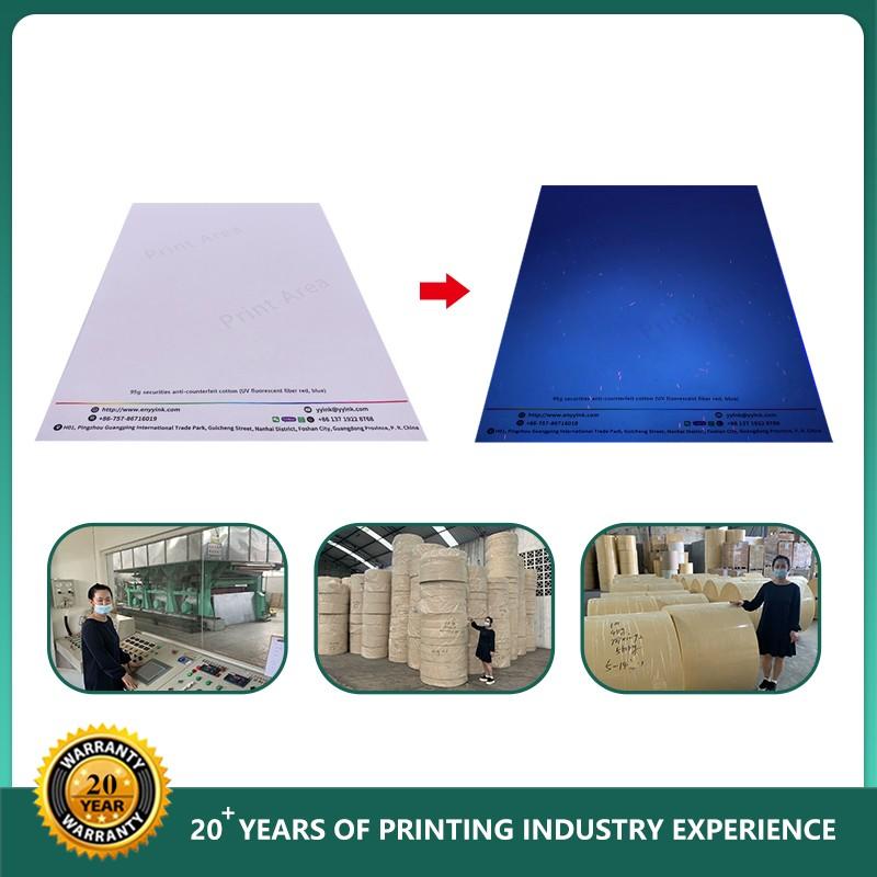 Security Banknote UV Fiber And Watermark Paper