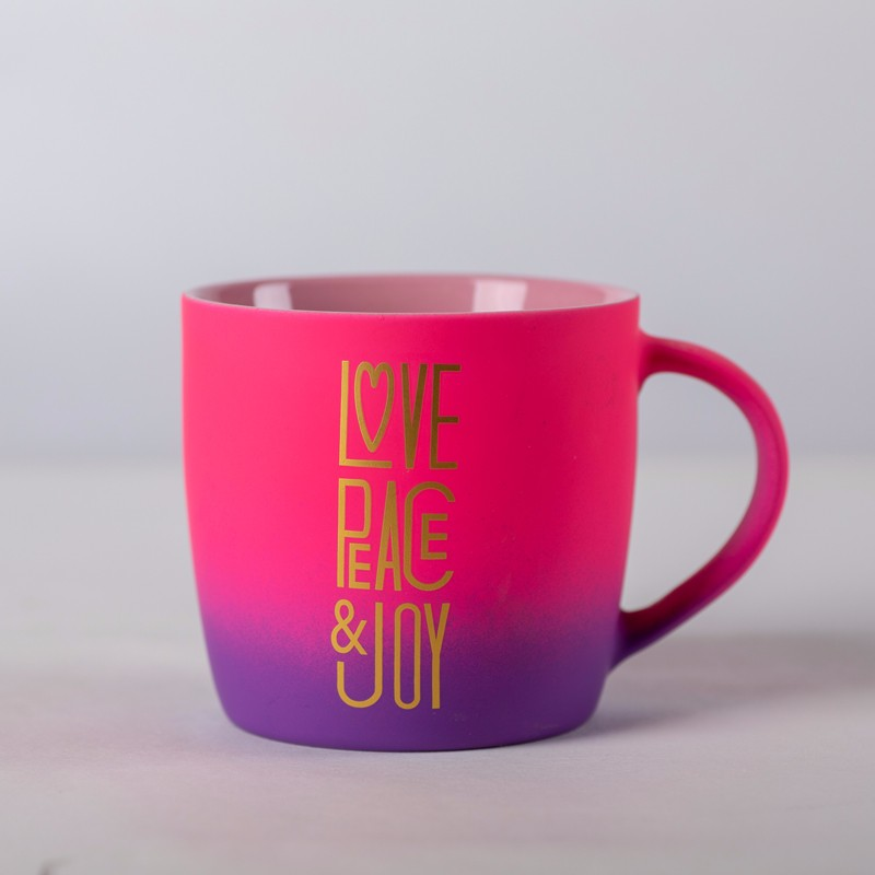 Gradient Color Rubber Coated Porcelain Mugs