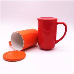 Ceramic Coffee Mug With Lid And Handle