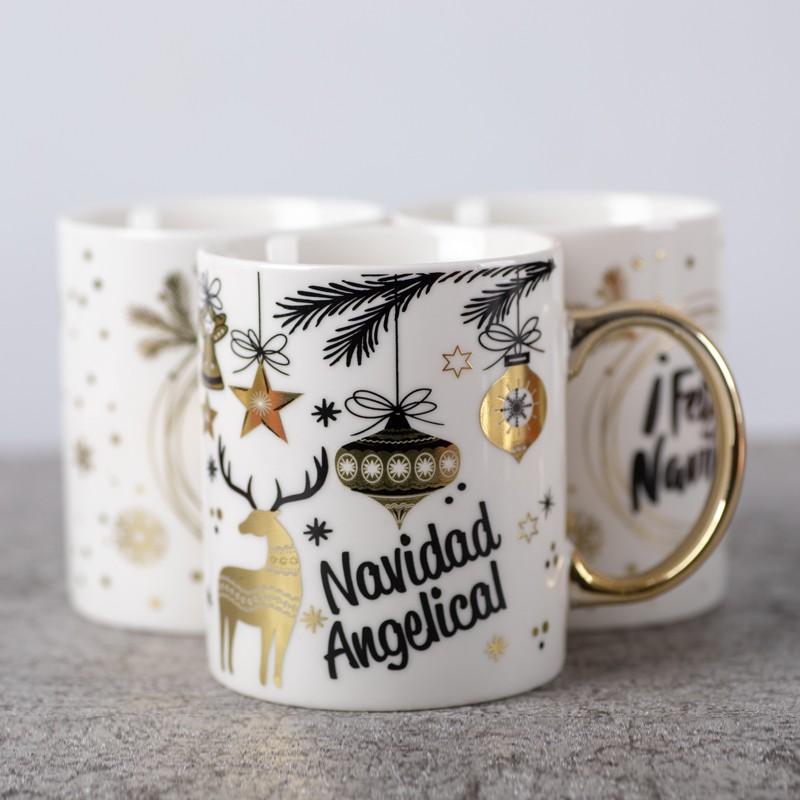 chrismas gold ceramic coffee mug