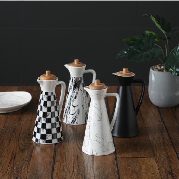 ceramic oil and vinegar dispenser bottle