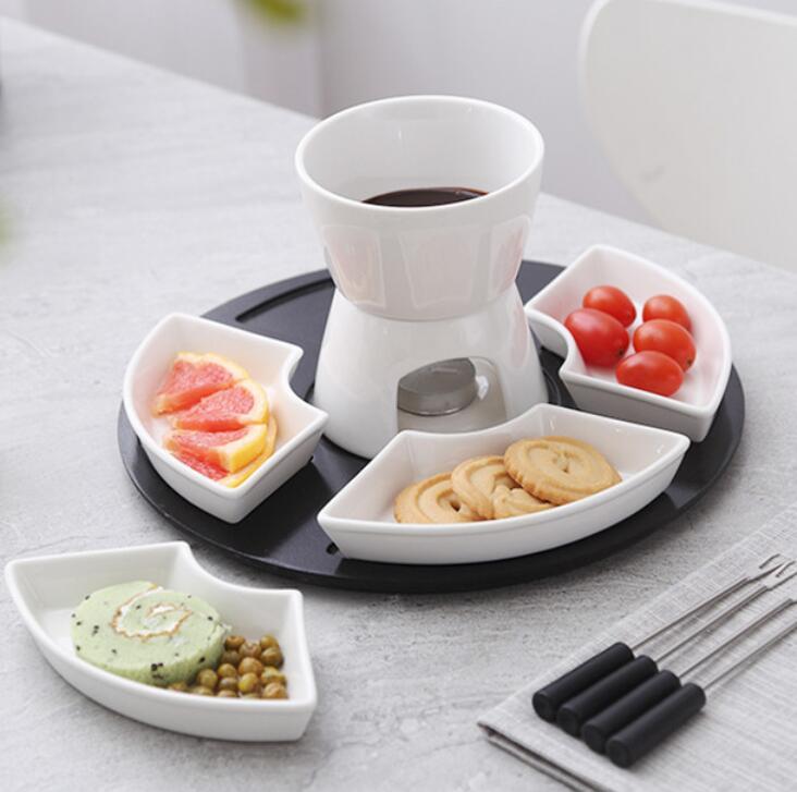 small ceramic chocolate cheese fondue set