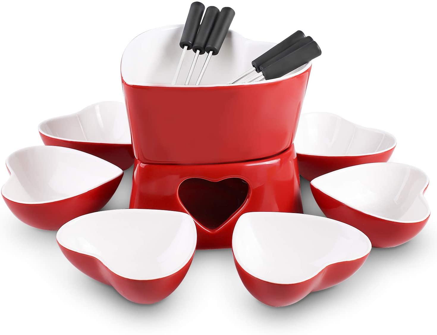 Ceramic chocolate cheese fondue pot sets