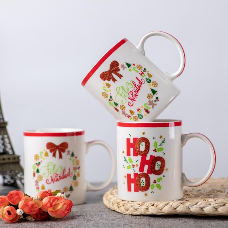 christmas style ceramic mugs