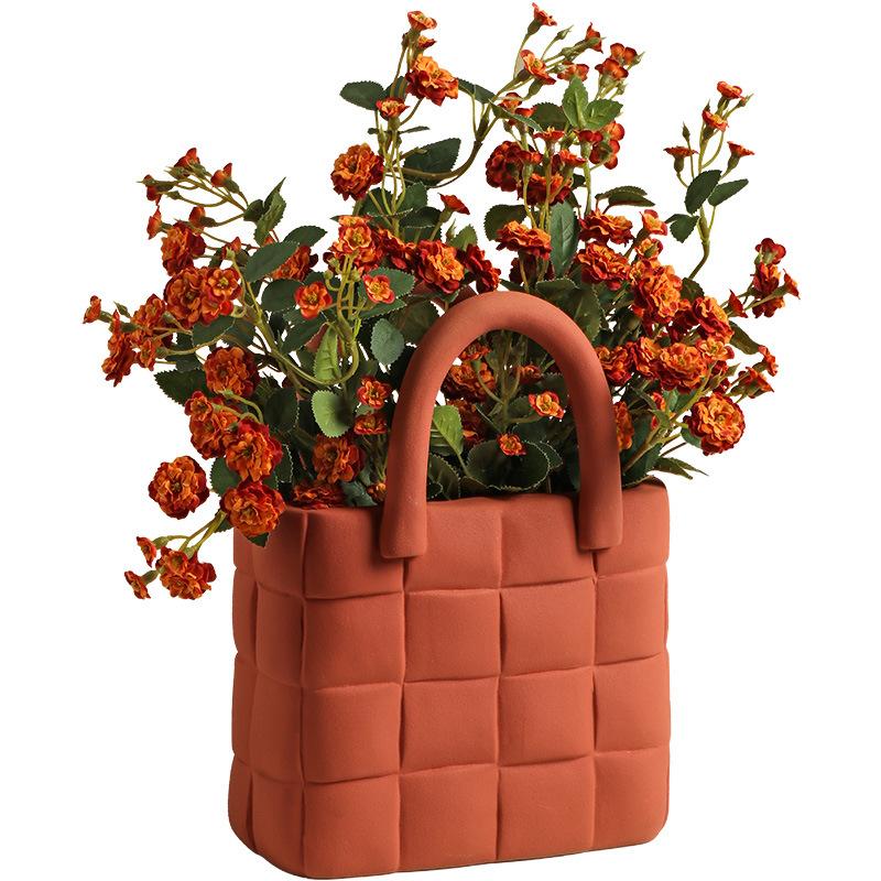 woven handbag ceramic vase