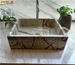 Green Forest Rain Marble Bathroom Basin