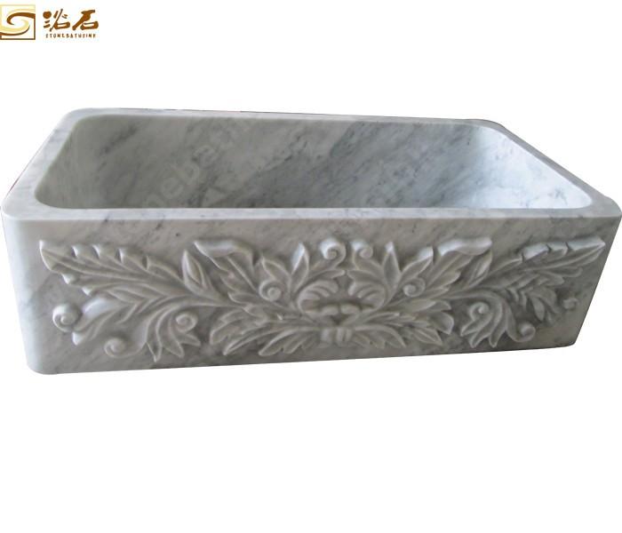 Italy Carrara White Marble Farmhouse Sink Signle Bowl