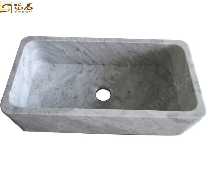 White Marble Kitchen Sink with Single Bowl
