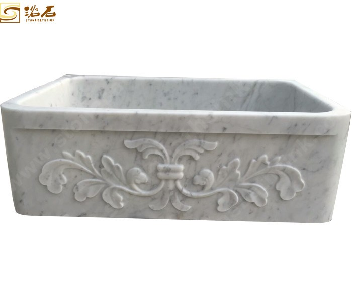 Carrara White Marble Farmhouse Sink With Carving