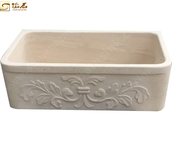 Galala Marble Farmhouse Sink with Carvings