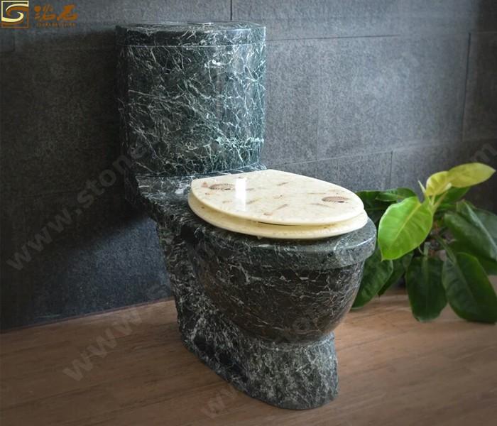 Big Flower Green Marble Toilet