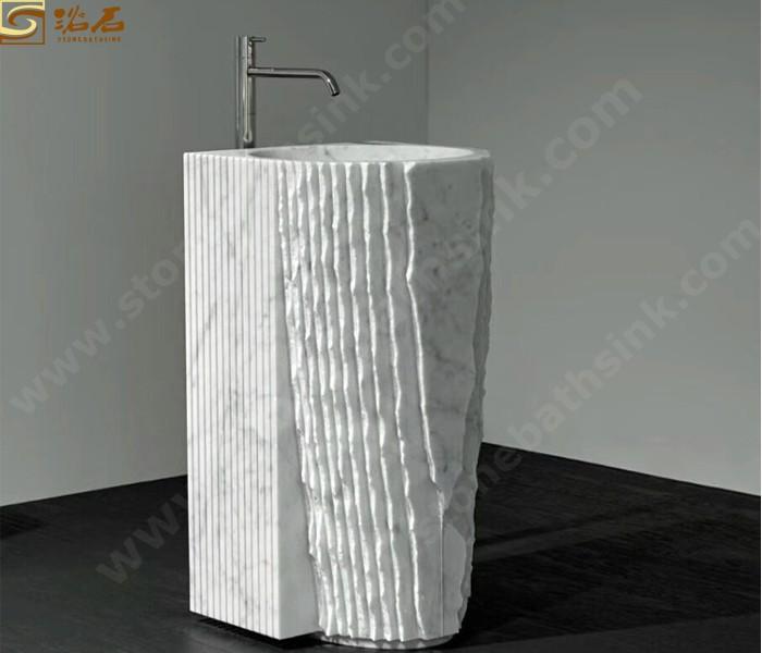 Bianco Carrara White Marble Pedestal Sink