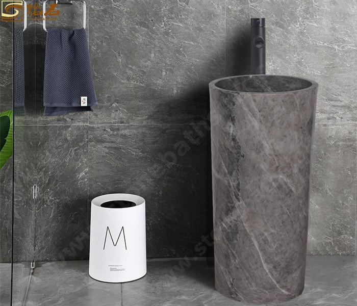 Hermes Grey Marble Pedestal Sink